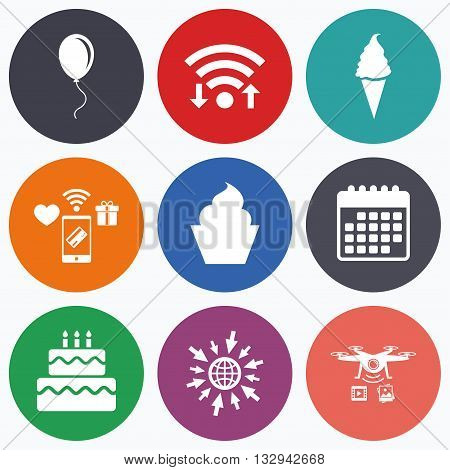Wifi, mobile payments and drones icons. Birthday party icons. Cake with ice cream signs. Air balloon with rope symbol. Calendar symbol.