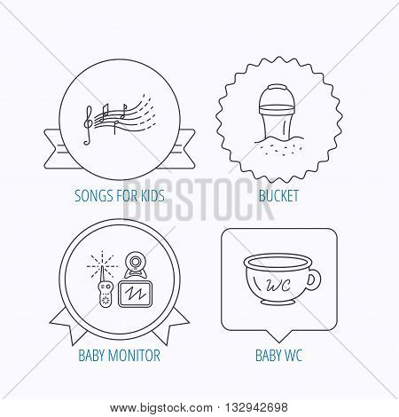 Baby wc, video monitoring and songs for kids icons. Beach bucket linear sign. Award medal, star label and speech bubble designs. Vector