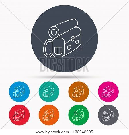 Backpack icon. Travel equipment sign. Back to school symbol. Icons in colour circle buttons. Vector