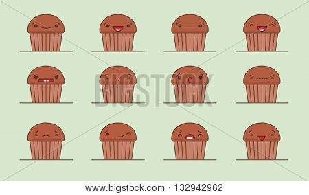 Vector muffin set. Set of vector kawaii muffin emoticons. Isolated on green background.