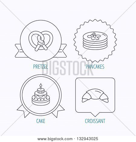 Croissant, pretzel and pancakes icons. Sweet cake linear sign. Award medal, star label and speech bubble designs. Vector