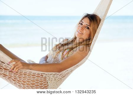 Gorgeous Woman Relaxing At The Beach