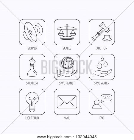 Strategy, auction and scales of justice icons. Save planet, water and lamp lightbulb linear signs. Faq and law hammer flat line icons. Flat linear icons in squares on white background. Vector