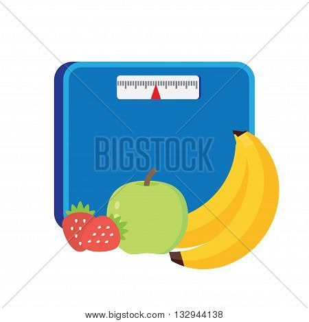 Bathroom scale Concept of weight loss, diet, healthy lifestyle. Vector illustration