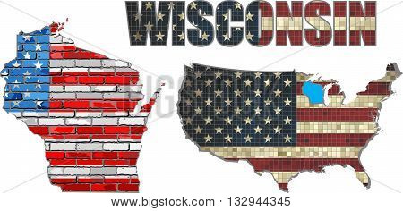 USA state of Wisconsin on a brick wall - Illustration, The flag of the state of Wisconsin on brick textured background,  Font with the United States flag,  Wisconsin map on a brick wall