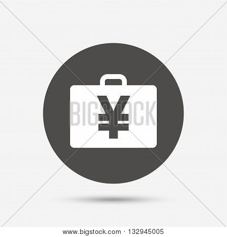 Case with Yen JPY sign icon. Briefcase button. Gray circle button with icon. Vector