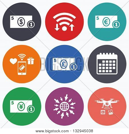 Wifi, mobile payments and drones icons. Businessman case icons. Dollar, yen, euro and pound currency sign symbols. Calendar symbol.