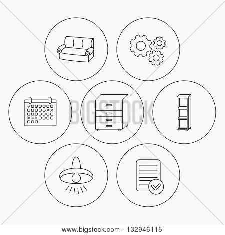 Sofa, ceiling lamp and shelving icons. Chest of drawers linear sign. Check file, calendar and cogwheel icons. Vector