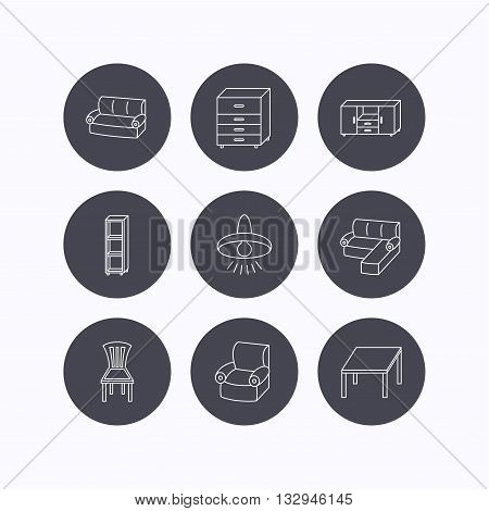 Corner sofa, table and armchair icons. Chair, ceiling lamp and chest of drawers linear signs. Shelving, furniture flat line icons. Flat icons in circle buttons on white background. Vector