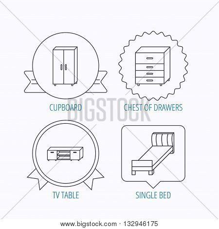 Single bed, TV table and cupboard icons. Chest of drawers linear sign. Award medal, star label and speech bubble designs. Vector