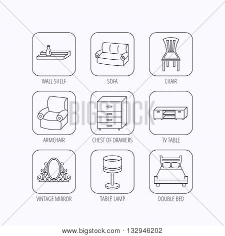 Double bed, table lamp and armchair icons. Chair, lamp and vintage mirror linear signs. Wall shelf, sofa and chest of drawers furniture icons. Flat linear icons in squares on white background. Vector