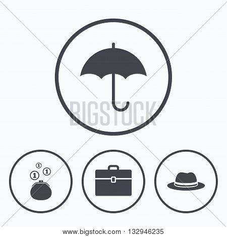 Clothing accessories icons. Umbrella and headdress hat signs. Wallet with cash coins, business case symbols. Icons in circles.