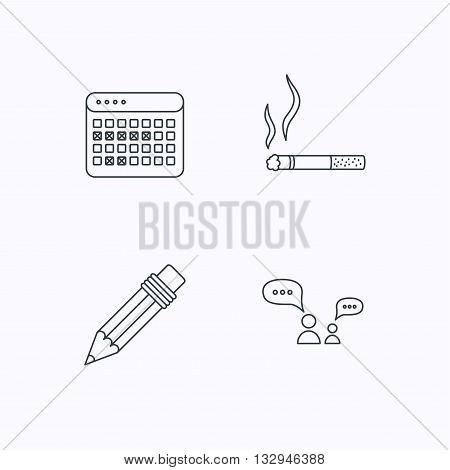 Dialogue, pencil and smoking icons. Vacation calendar linear sign. Flat linear icons on white background. Vector