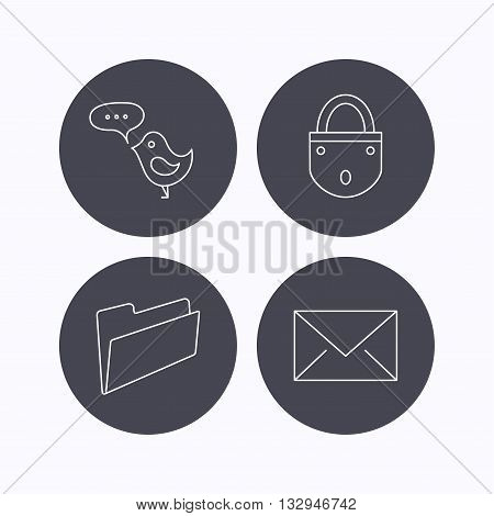 Lock, folder hand and e-mail icons. Bird message linear sign. Flat icons in circle buttons on white background. Vector