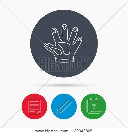 Construction gloves icon. Textile hand protection sign. Housework cleaning equipment symbol. Calendar, pencil or edit and document file signs. Vector