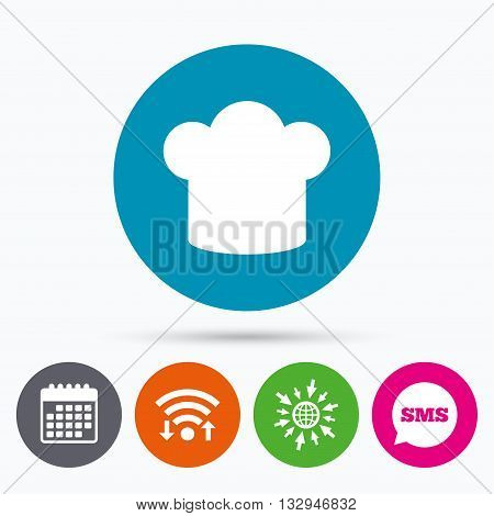 Wifi, Sms and calendar icons. Chief hat sign icon. Cooking symbol. Cooks hat. Go to web globe.