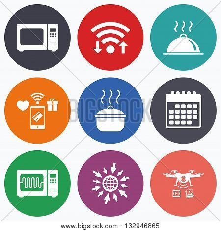 Wifi, mobile payments and drones icons. Microwave grill oven icons. Cooking pan signs. Food platter serving symbol. Calendar symbol.