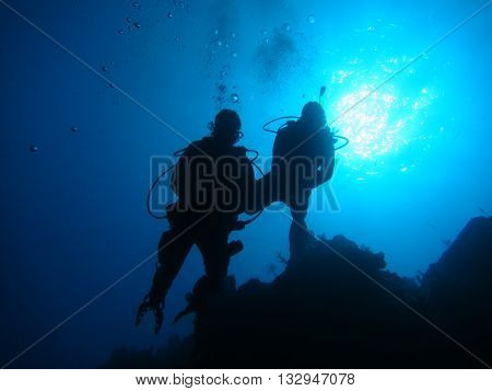 Scuba Divers silhouetted against the sun while diving