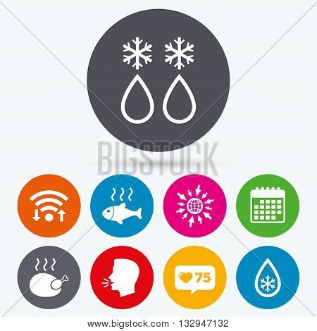 Wifi, like counter and calendar icons. Defrosting drop and snowflake icons. Hot fish and chicken signs. From ice to water symbol. Human talk, go to web.