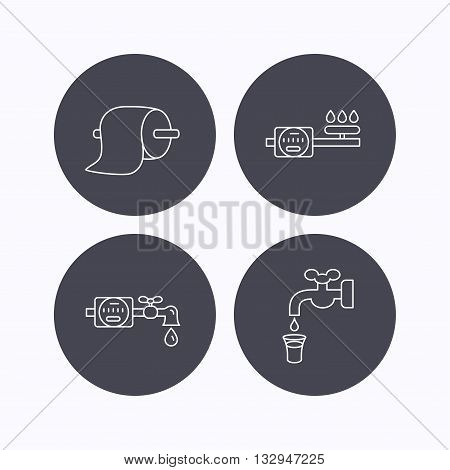 Toilet paper, gas and water counter icons. Save water linear sign. Flat icons in circle buttons on white background. Vector