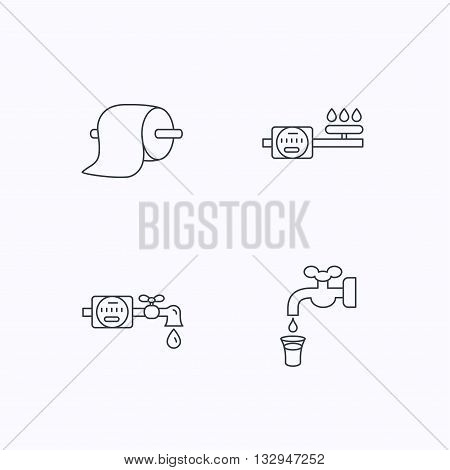 Toilet paper, gas and water counter icons. Save water linear sign. Flat linear icons on white background. Vector