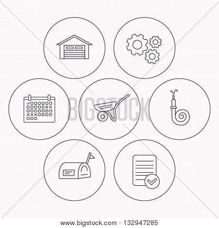 Mailbox, garage and fire hose icons. Trolley linear sign. Check file, calendar and cogwheel icons. Vector
