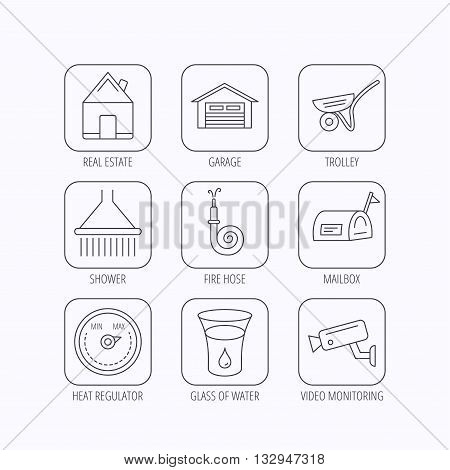 Real estate, garage and heat regulator icons. Trolley, fire hose and mailbox linear signs. Shower, glass of water and video monitoring icons. Flat linear icons in squares on white background. Vector