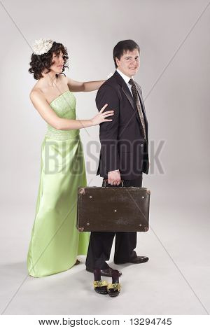 Happy Young Man Is Leaving His Woman