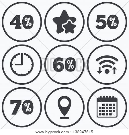 Clock, wifi and stars icons. Sale discount icons. Special offer price signs. 40, 50, 60 and 70 percent off reduction symbols. Calendar symbol.