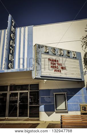 ST. PETE BEACH - MARCH 15, 2016: Once a thriving movie theatre in St. Pete Beach, Florida, the Beach Theatre closed its doors in 2010.