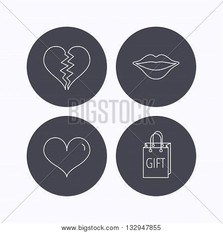 Love heart, kiss lips and gift icons. Broken heart linear sign. Flat icons in circle buttons on white background. Vector