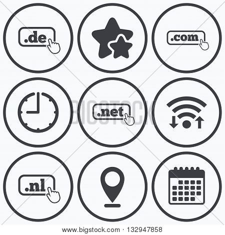 Clock, wifi and stars icons. Top-level internet domain icons. De, Com, Net and Nl symbols with hand pointer. Unique national DNS names. Calendar symbol.