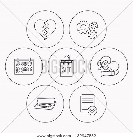 Broken heart, gift box and wedding jewelry icons. Box with jewelry linear sign. Check file, calendar and cogwheel icons. Vector