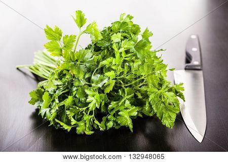 Bunch Of Parsley And Knife