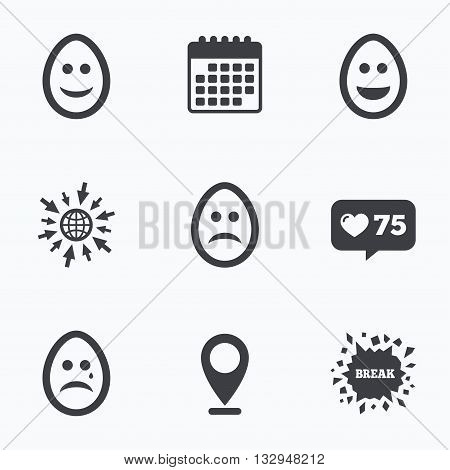 Calendar, like counter and go to web icons. Eggs happy and sad faces icons. Crying smiley with tear symbols. Tradition Easter Pasch signs. Location pointer.