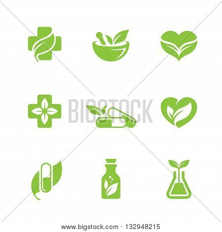 Herbal medicine icons set. Can be used for pharmacy homeopathy alternative medicine organic or natural concept logo