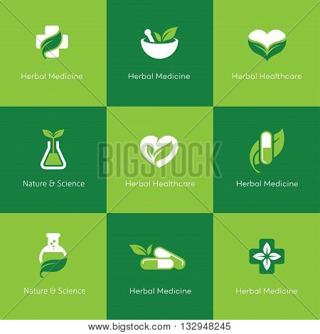Set of herbal medicine icons with leaves in green and white colors. Can be used for science pharmacy homeopathy alternative medicine medical research organic or natural concept logo design