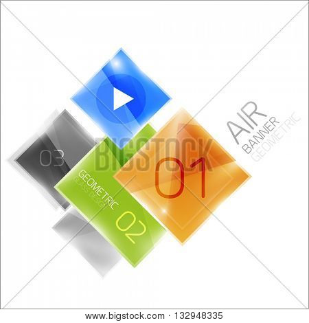 Air glossy square composition, glass geometric elements with infographic sample text and buttons