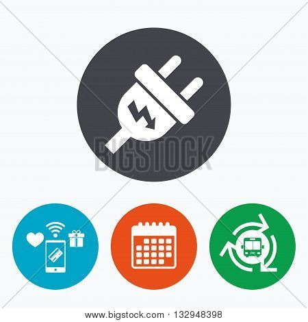 Electric plug sign icon. Power energy symbol. Lightning sign. Mobile payments, calendar and wifi icons. Bus shuttle.