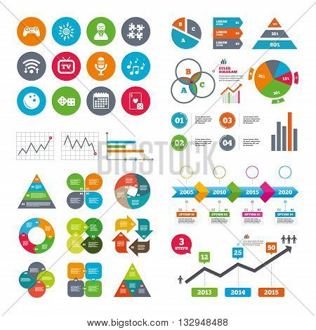 Wifi, calendar and web icons. Entertainment icons. Game, bowling and puzzle signs. Casino, carnival and musical note symbols. Diagram charts design.