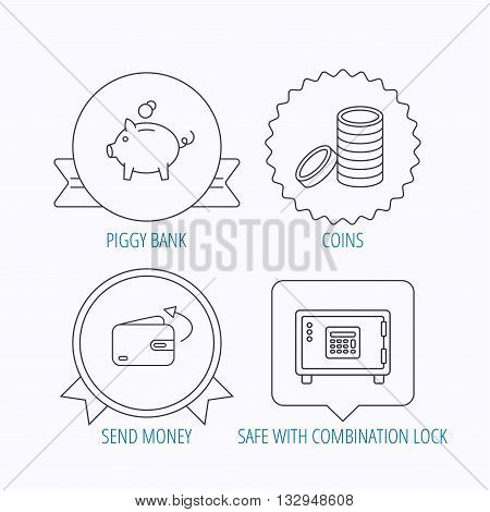 Piggy bank, cash money and wallet icons. Safe box, send money linear signs. Award medal, star label and speech bubble designs. Vector