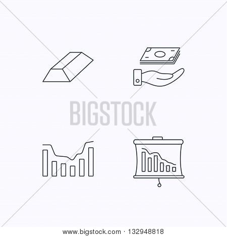 Save money, dynamics chart and statistics icons. Gold bar linear sign. Flat linear icons on white background. Vector