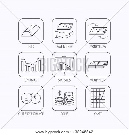 Banking, cash money and statistics icons. Money flow, gold bar and dollar usd linear signs. Dynamics chart, coins and savings icons. Flat linear icons in squares on white background. Vector