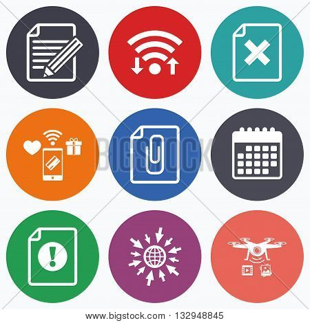 Wifi, mobile payments and drones icons. File attention icons. Document delete and pencil edit symbols. Paper clip attach sign. Calendar symbol.