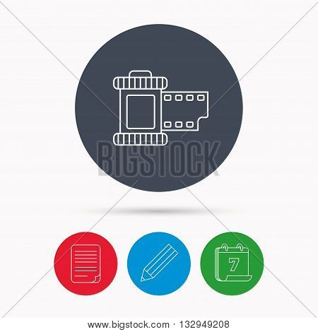 Retro photo icon. Camera roll sign. Calendar, pencil or edit and document file signs. Vector