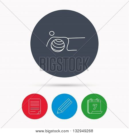 Pilates fitness sign. Gymnastic ball icon. Sport workout symbol. Calendar, pencil or edit and document file signs. Vector
