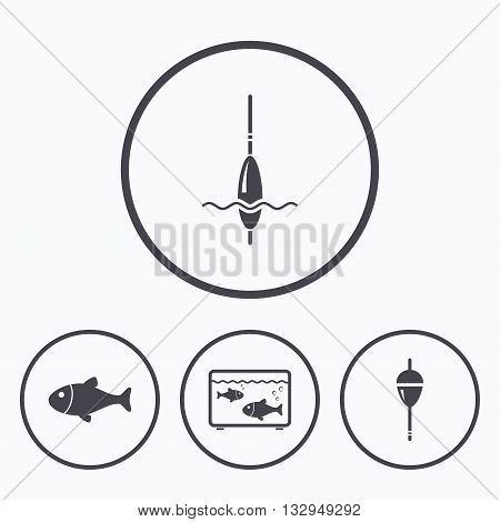 Fishing icons. Fish with fishermen hook sign. Float bobber symbol. Aquarium icon. Icons in circles.