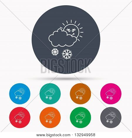 Snow with sun icon. Snowflakes with cloud sign. Snowy overcast symbol. Icons in colour circle buttons. Vector