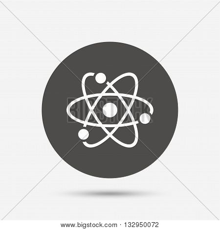 Atom sign icon. Atom part symbol. Gray circle button with icon. Vector