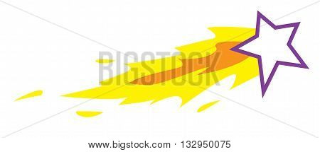 Vector illustration of shooting star isolated on white in cartoon style